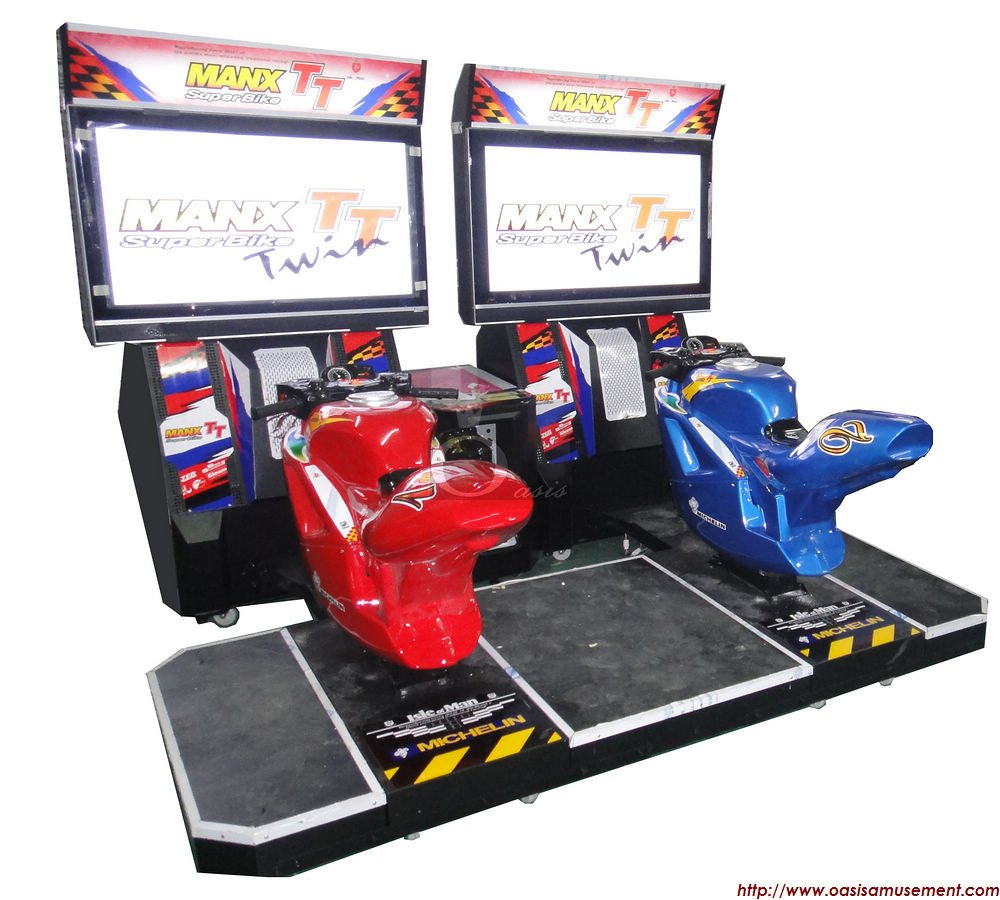 Modern LCD motorcycle video arcade game.