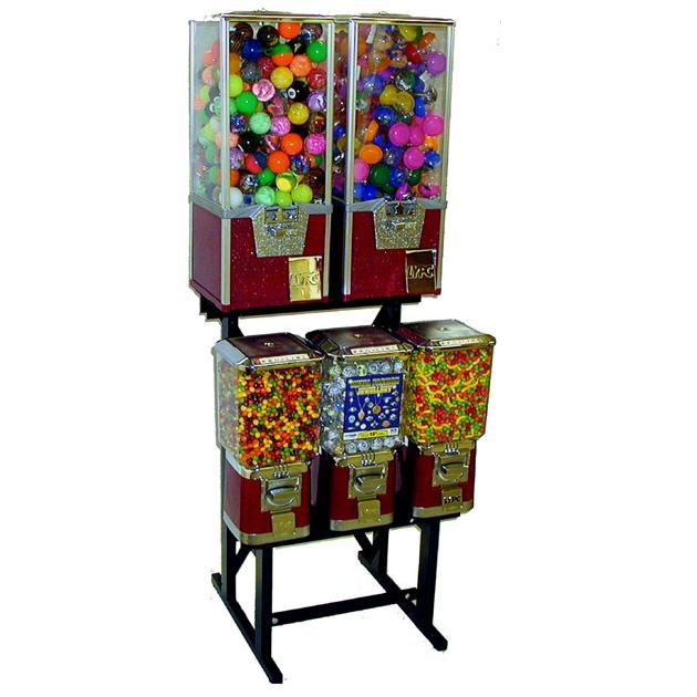 Five head combo gumball vending machine