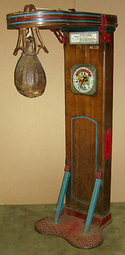 Mutoscope's full view of their Coin-operated Punching Bag/Boxing game (strength tester)