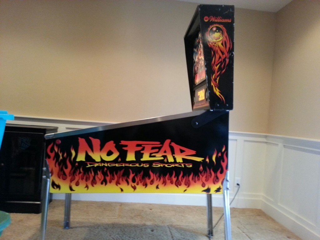 Right side (cabinet view) of a No Fear Pinball Machine that sold on WeBuyPInball.com to one of our members.
