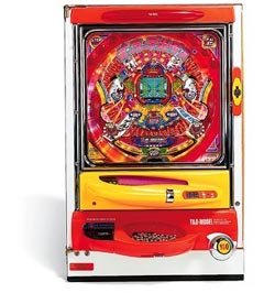 Coin operated pachinko game.