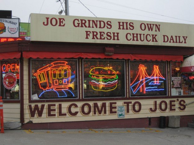 Cable car, burger & golden gate bridge neon signs for sale in San Francisco, California