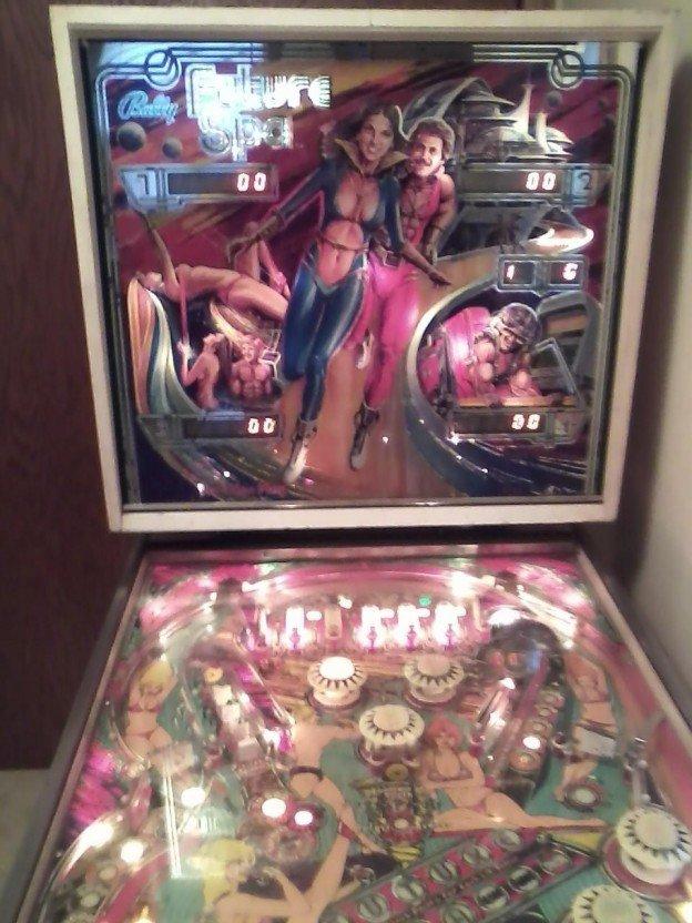 Backglass of future spa pinball machine for sale.