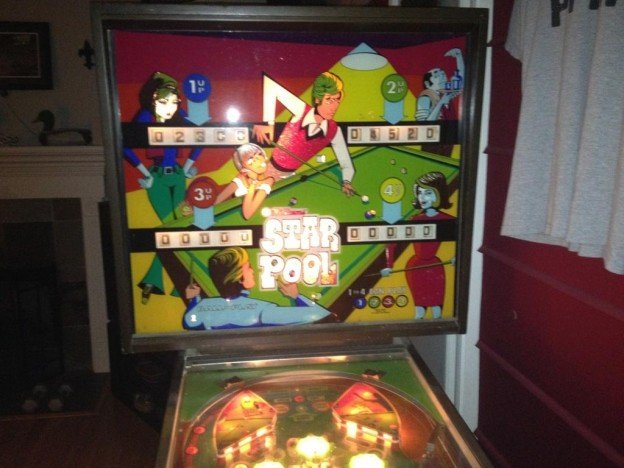 Backglass view of Star Pool pinball machine.