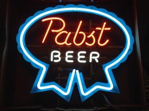 Pabst beer neon sign in box with power.