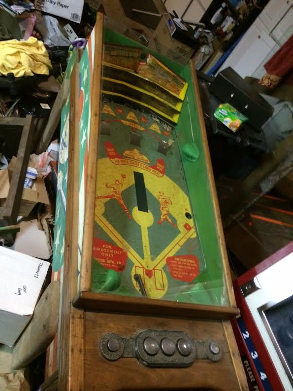 Playfield on the Super Slugger pitch and bat game for sale.