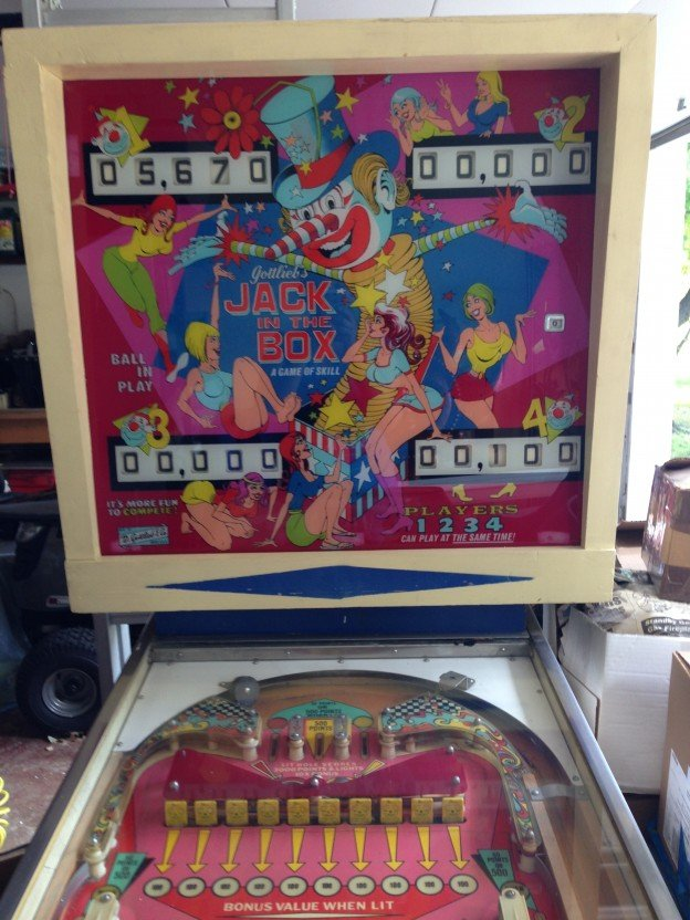 Backglass: Jack in the box pinball machine for sale.