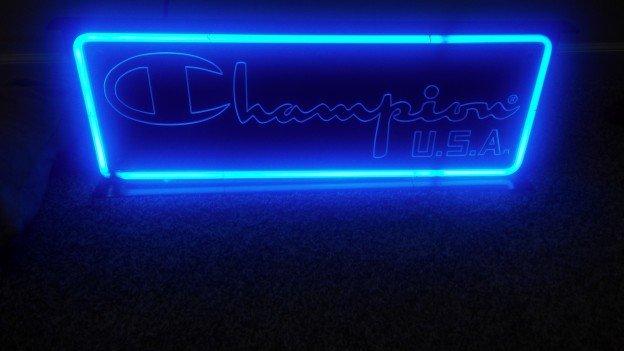champion neon sign
