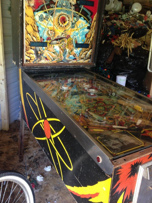 Left side of Time Line pinball machine.