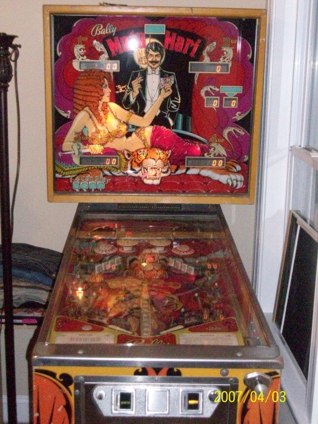 Backglass of Mati Hari pinball machine for sale in Zebulon NC
