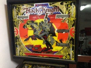 Backglass on Flippers Black Knight pinball machine for sale in Arezzo Italy