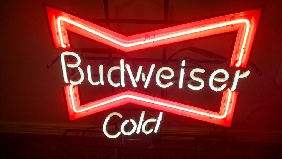 budweiser neon sign beer visalia cold cash pinball webuypinball arcade game