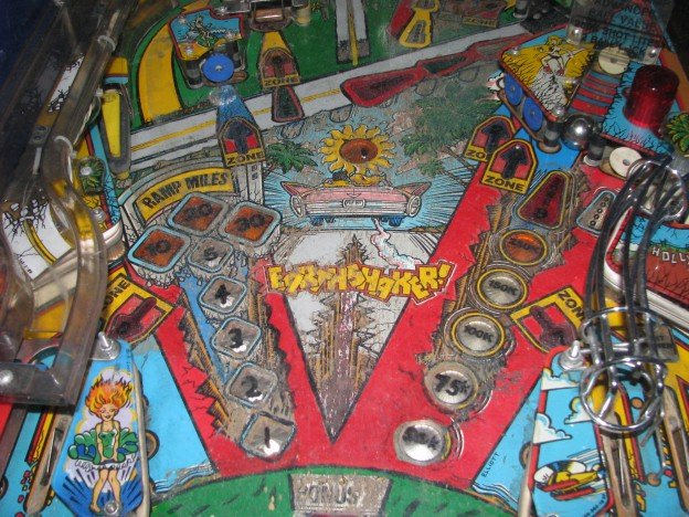Earthshaker pinball machien playfield closeup