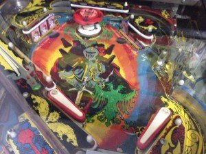 Upper playfield on Flippers Black Knight pinball machine for sale in Arezzo Italy