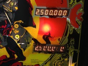 backglass detail on Flippers Black Knight pinball machine for sale in Arezzo Italy