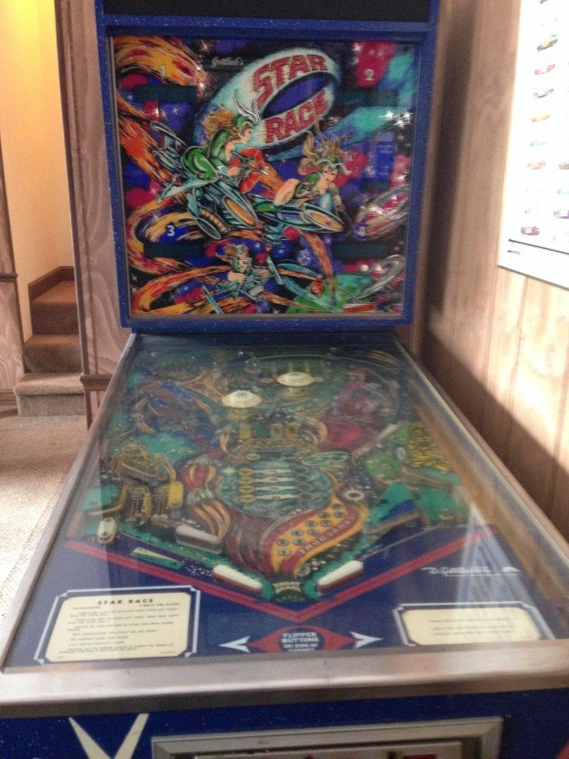 Backglass and playield of Star Race pinball machine for sale in Chesterfield