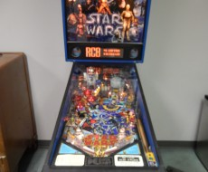Playfield backglass of DataEast Star Wars pinball machine for sale in Iowa