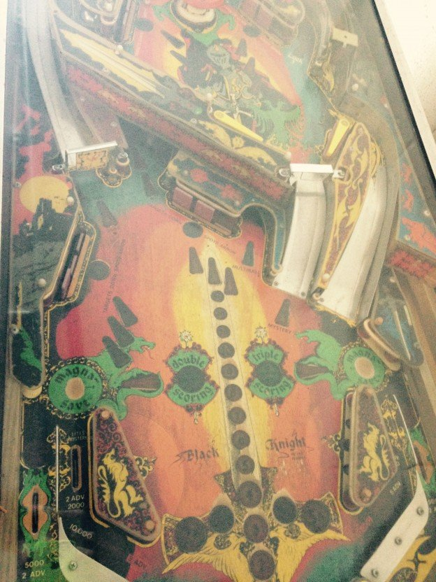 Playfield of Black Knight pinball machine for sale in Concord Massachusetts
