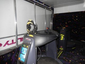 Both pods inside trailer for CyberMind virtual reality game SU 2000 cyberbase Intercon-x