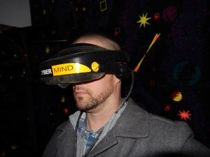Aaron Van Noy with Cyber Mind Head gear for CyberMind virtual reality game SU 2000 cyberbase Intercon-x