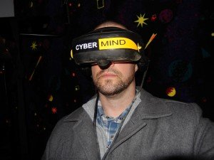 View of the front of Aaron Van Noy with Cyber Mind head Gear CyberMind virtual reality game SU 2000 cyberbase Intercon-x