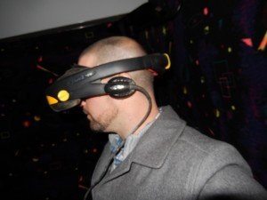 Side of CyberMind virtual reality head with speakers SU 2000 cyberbase Intercon-x